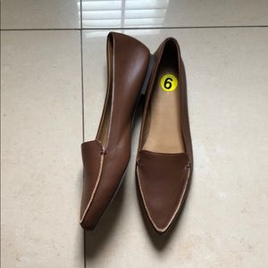 NEW J. Crew Edie Pointed Brown Leather Flats 9